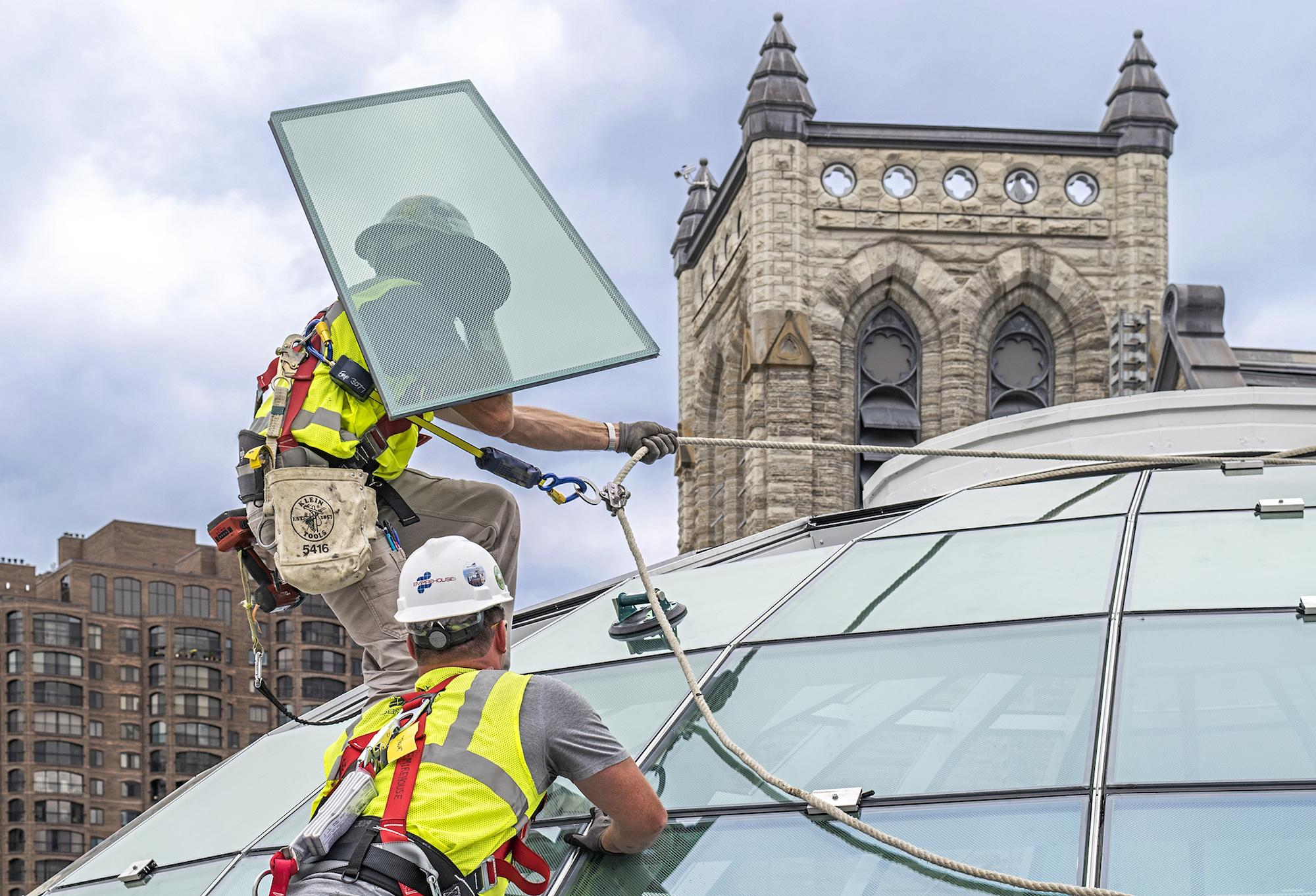Glaziers make challenging installation with proper equipment and procedures