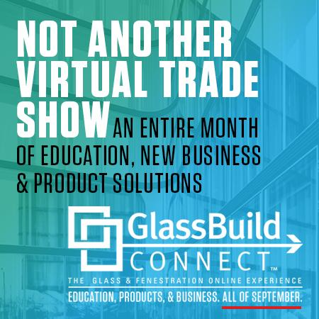 GlassBuild Connect advertisement, with 1 month of education and new products