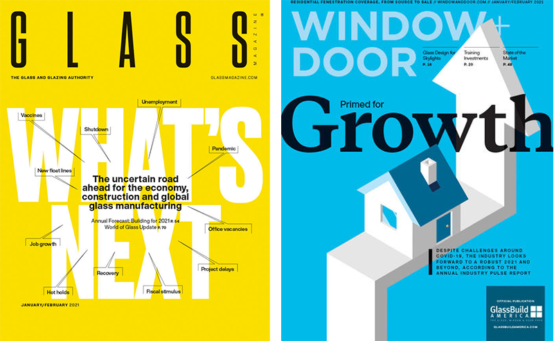 2021 covers for Glass Magazine and Window + Door Magazine