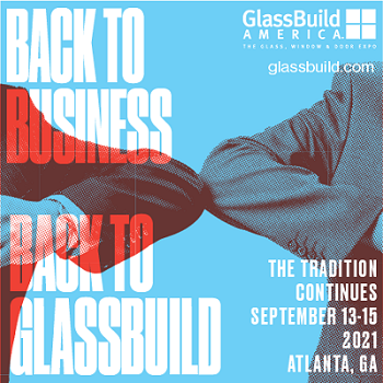 glassbuild ad that reads back to business, back to glassbuild. Atlanta, georgia. September 13-15